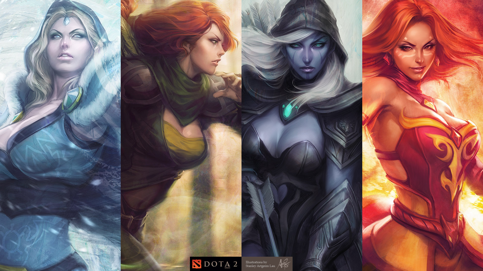 Lina,Crystal Maiden,Traxex,Windrunner wallpapers dota 2 Скачать 4 Set