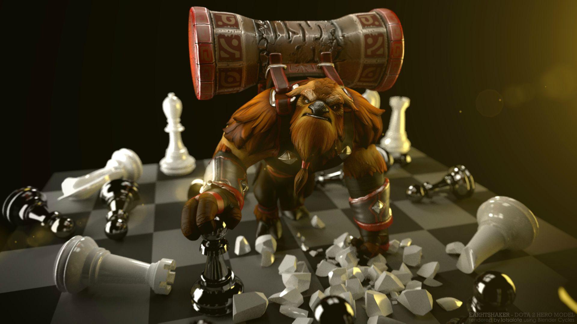 Earthshaker, Шейкер на шахматной доске wallpapers dota 2 Скачать
