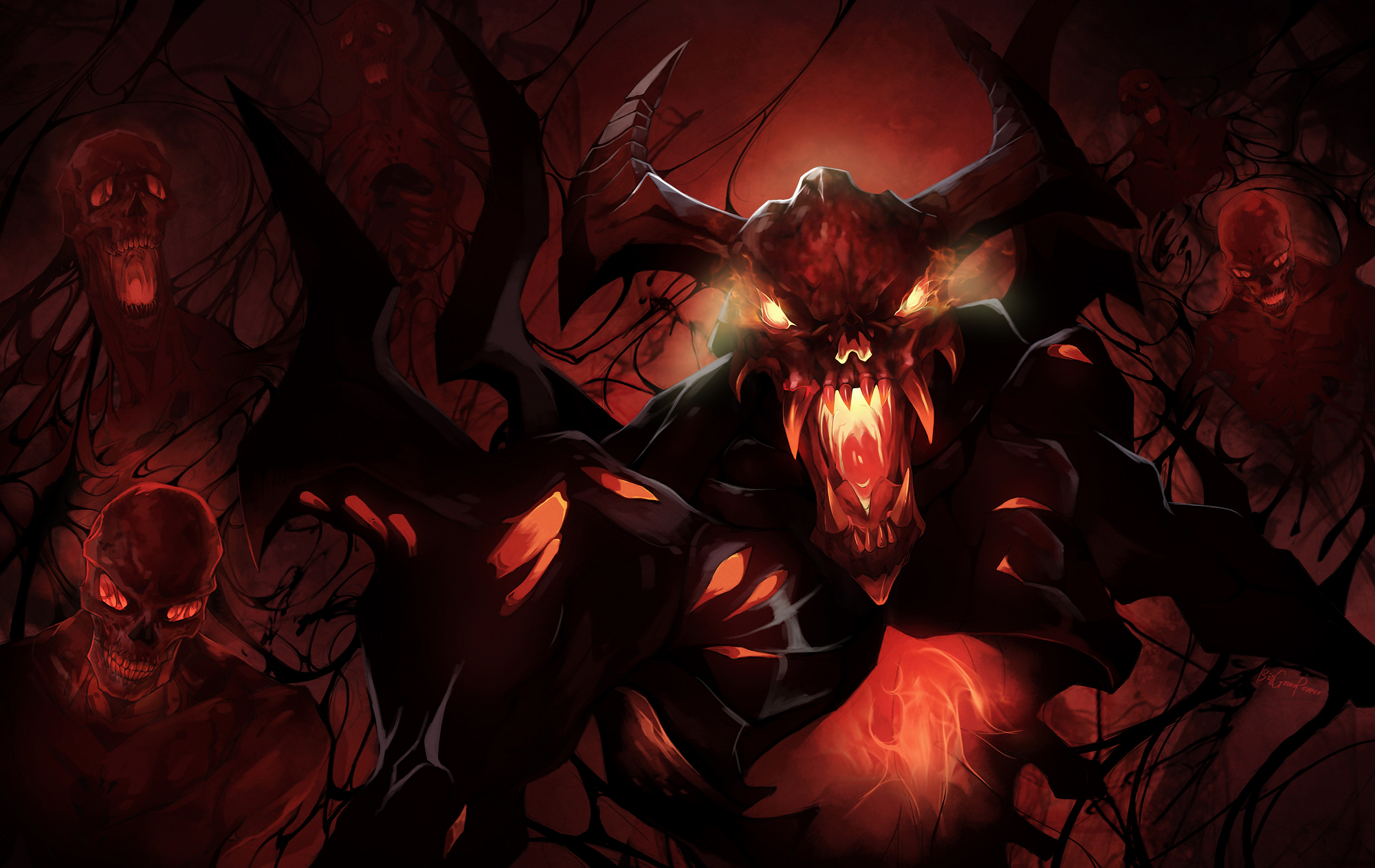 Shadow Fiend,SF,СФ,Невермор 2000х1263 wallpapers dota 2
