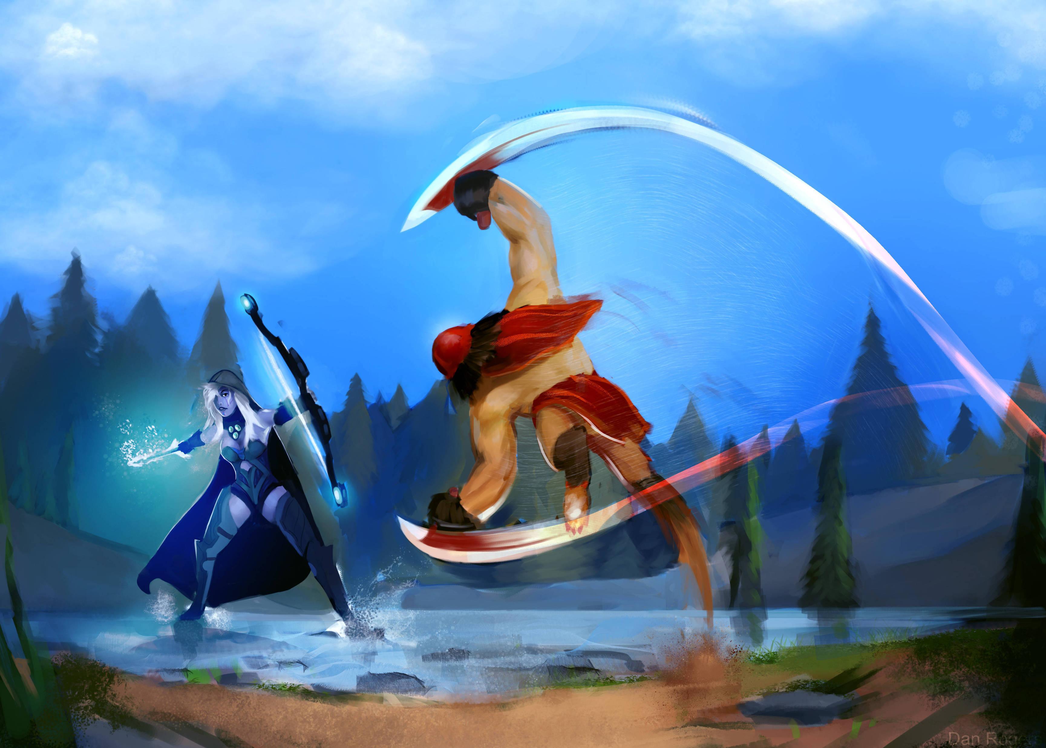 Bloodseeker vs Drow Ranger обои Дота 2