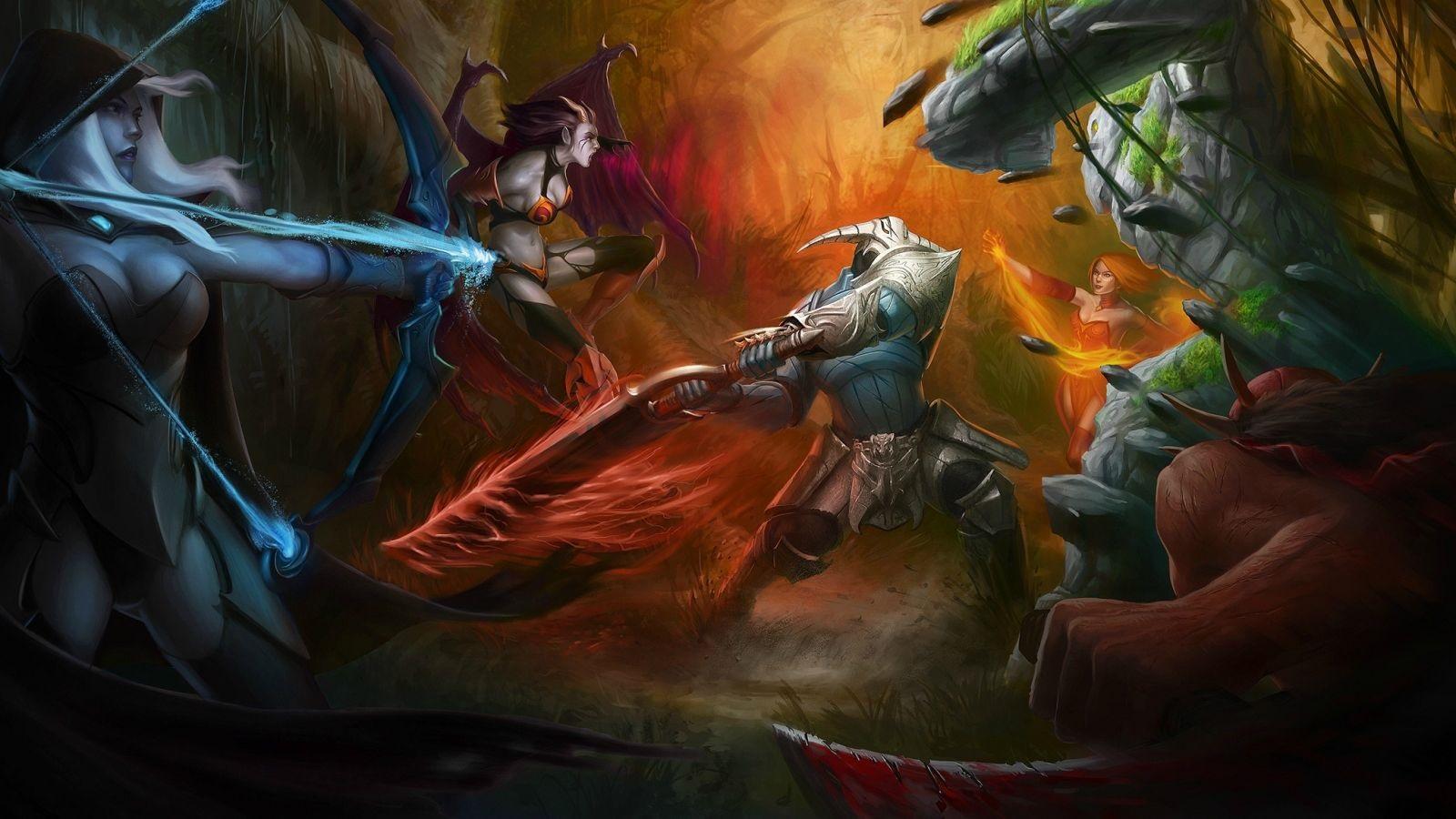 Sven,Lina,Drow Ranger,Tiny,Queen of Pain pc wallpaper Dota 2