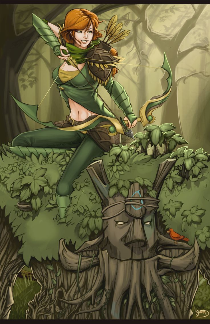 Windranger & Treant Protector mobile phone wallpapers Dota 2