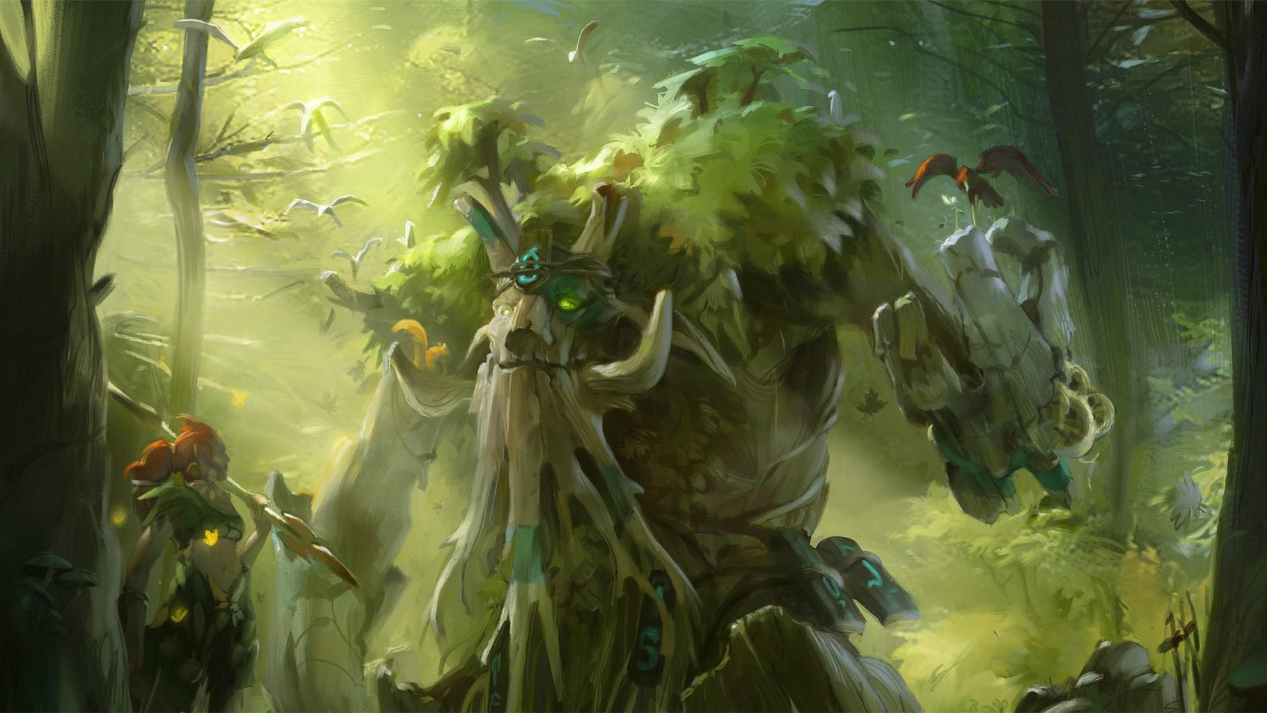 Enchantress & Treant Protector desktop backgrounds download Dota 2