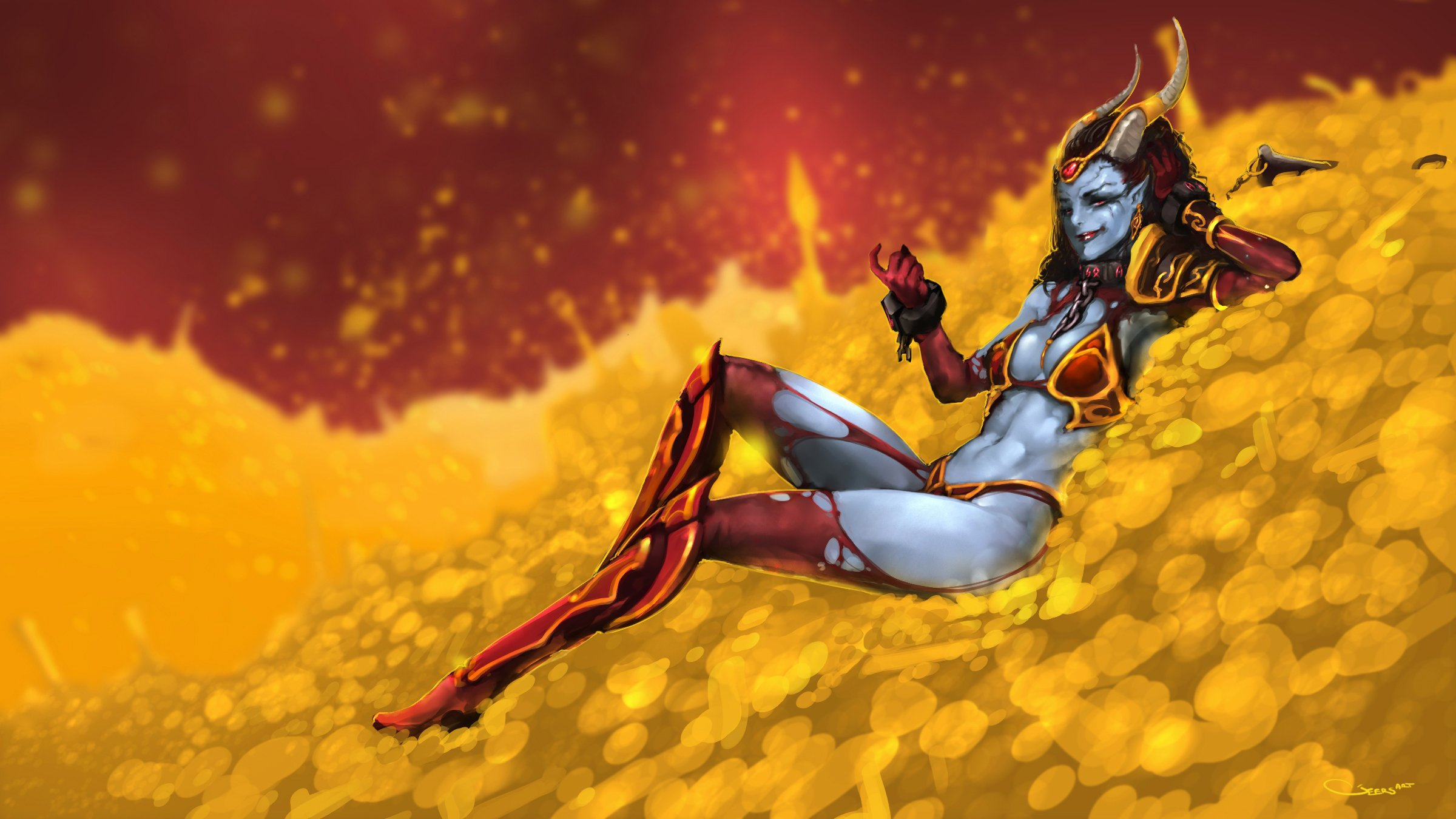 Queen of Pain Квопа in Gold pc wallpaper Dota 2