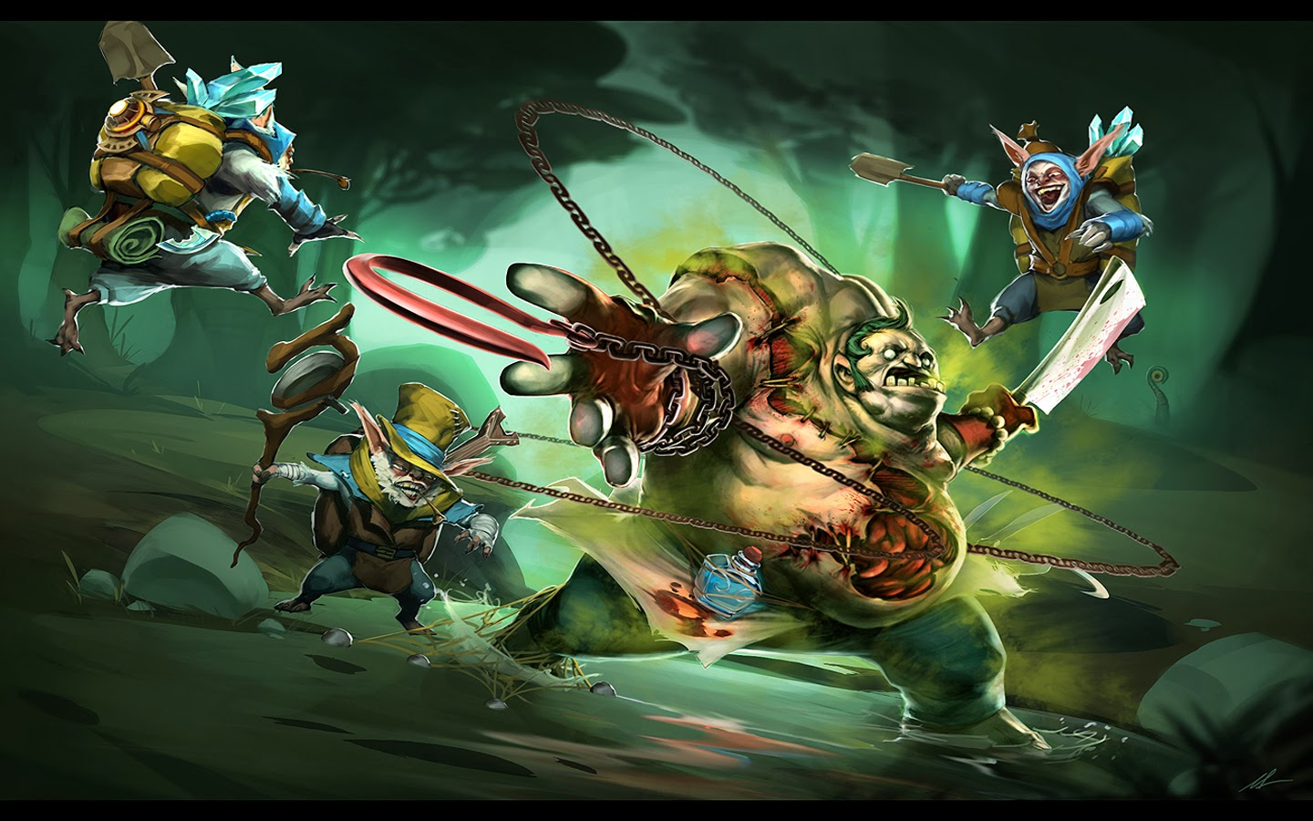 Pudge & Meepo computer desktop wallpaper Dota 2